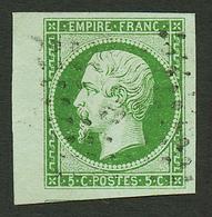 5c (n°12c) Vert Fonçé Sur Vert Bord De Feuille Obl. Cote 380€+++. Signé ROUMET + Certificat LA POSTALE. Superbe Qualité. - Francia