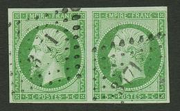 Paire Du 5c (n°12b) Vert Fonçé Obl. PC 3171. Cote 450€. Superbe. - Francia