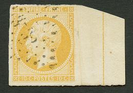 10c Jaune Citron (n°13A) Avec Filet D' Encadrement Obl. Marge Du Haut Plus Petite Mais Présente. Signé CALVES + Certific - Francia