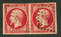 Paire 80c Nuance GROSEILLE (Maury N°17Bd) Obl. PC 441 Sur Fragment. Signé CALVES & MENOZZI. TB. - Francia