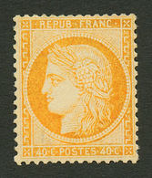 40c SIEGE (n°38a) Jaune Orange Neuf *. Cote 800€. Signé ROUMET. Certificat GOEBEL. TB. - Francia