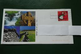 Enveloppe Lettre  QUELQUE PART SUR TERRE  AUBRAC  CARTE POSTALE  A LINTERIEURE PAYSAGE D AUBRAC - Storia Postale