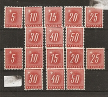 Schweiz, 1938, Nachporto, 54-61y + 54-61z, **, Kat. 82.00, Siehe Scan! - Unused Stamps