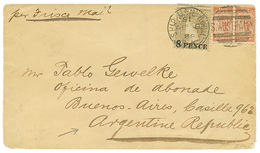 SOUTHERN AUSTRALIA To ARGENTINA : 1888 8d On 9d + Pair 1/2d Canc. SHIP MAIL ROOM On Envelope To BUENOS AIRES (ARGENTINA) - Australie