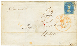 TASMANIA : 1856 4d + GENERAL POST OFFICE HOBART TOWN On OVERLAND MAIL Cover (fault) To LONDON. Vf.y - Australie