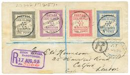 1895 1d + 1 1/2d+ 2 1/2d+ 10d Canc. RAROTONGA On REGISTERED Envelope ENGLAND. Vvf. - Cook