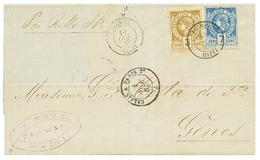 1885 7c Unperf. + 3c Perf. Canc. JACMEL HAITI On Entire Letter To GENES (ITALY). Vvf. - Haïti