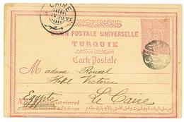 Negativ Seal JAFFA : 1898 TURKEY P./Stat 20p Canc. Rare Negativ Seal JAFFA PORT To CAIRO (EGYPT). Superb. - Palestine