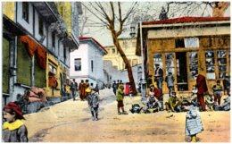 SALONIQUE - Une Rue De La Ville Haute Avec Une Suite De Décrotteurs - Greece