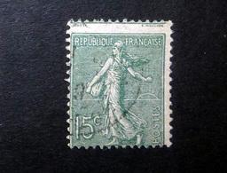 FRANCE 1903 N°130IVP OBL. (SEMEUSE LIGNÉE. 15C OLIVE. TYPE IV. PIQUAGE À CHEVAL) - 1903-60 Sower - Ligned