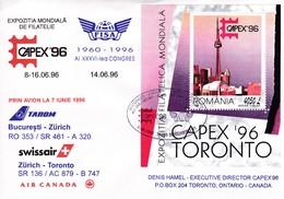 CAPEX 96 . Bloc România, Bucuresti - Zürich, TAROM RO353 /SR461-A320- Swissair Zürich-Toronto SR 136 / AC 879 - B 747 - Airmail