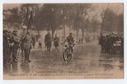 CPA COURSE MOTO 1000CC, DELABARRE HARLEY DAVIDSON, PNEUS HUTCHINSON, PARIS PYRENEES PARIS MAI 1921 - Motorbikes