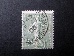 FRANCE 1903 N°130IV OBL. (SEMEUSE LIGNÉE. 15C OLIVE. TYPE IV) - 1903-60 Sower - Ligned