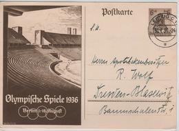 230PR/ Deutsches Reich Ganz.Pk Olympische Spiele 1936 Berlin 1-16 August  C.Berlin Leipzig 30/7/36 > Dresden - Sommer 1936: Berlin