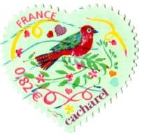 """Timbre YT AA 51a Variété Coeur Saint-Valentin Cacharel Sans """"Poste"""" Oblitéré TBE France 3748 - Adhesive Stamps"""