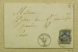 Lettre Avec Correspondance 1876 Dugny --> Paris, Affr. Type Sage 25 C, Boite Rurale B Le Bourget - Timbre Abimé - 1849-1876: Periodo Clásico