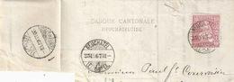 """Briefstück  """"Banque Cantonale Neuchâteloise""""  Neuchâtel - Chaux-de-Fonds            1867 - 1862-1881 Helvetia Assise (dentelés)"""