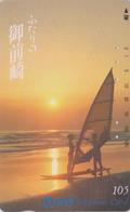 TC JAPON / NTT 290-150 - Bateau SURF Coucher De Soleil & Femme - SURFING Sunset & Woman JAPAN Phonecard - Schiffe