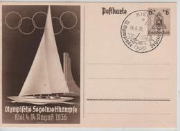 234PR/ Deutsches Reich Ganz.Pk Olympische Spiele 1936 Segelwettkämpfe C.Kiel 14/8/36 NOT CIRCULATED - Sommer 1936: Berlin