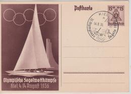 235PR/ Deutsches Reich Ganz.Pk Olympische Spiele 1936 Segelwettkämpfe C.Kiel 14/8/36 NOT CIRCULATED - Sommer 1936: Berlin