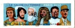 Vignette Lisa 2 Oblitérée Salon Du Timbre Paris 2012 Personnages Historiques MNH : Napoléon, De Gaulle, François 1er,... - 2010-... Illustrated Franking Labels