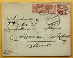 Lettre 1925 Varsovie, Warszawa --> Saverne, France, Affr. 45 Zl Fi 210 - 1919-1939 République