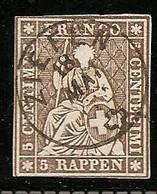 Schweiz, Strubel Ab 1854,  22G, Vollstempel, Ziefen 18.Mai 1962, Siehe Scan! - 1854-1862 Helvetia (Non-dentelés)