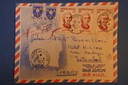 469 FRANCE  BELLE LETTRE 1957 POSTE AUX ARMEES POUR ISTAMBUL TURQUIE + BLOC 3 TIMBRES - France