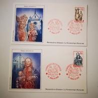 FRANCE Lot FDC 2 Enveloppes NUMISMATIQUE 1er Jour Série CROIX ROUGE VIERGE A L'ENFANT 1983 - 1980-1989