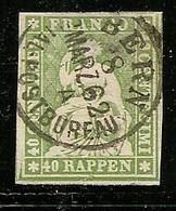 Schweiz, Strubel Ab 1854,26G, Sf Grün, Kl.dünne Stelle, Bern 8. Marz.62.  Siehe Scan! - Oblitérés