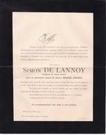 WANZELE ANVERS Simon De LANNOY Veuf ANDRE époux PIERRE 1858-1905 Faire-part Décès - Décès