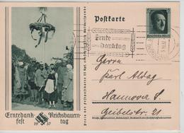 246PR/  Deutsches Reich Ganz.PK Reichsparteitag Hitler Erntedank-Fest-Reichsbayerntag 1937 C.Nürnberg 3/10/37 > Hannover - Storia Postale