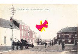N°20 - JUMET - Rue Du Grand Central - Carte Colorée, Circulé En 1913 Avec Chariot Plein De Tonneaux De Bière - Charleroi
