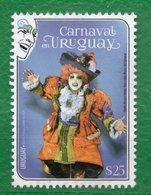 1710 URUGUAY 2020- 1 Sello- Carnaval TT: Caretas,Disfraces,Sombreros - Uruguay