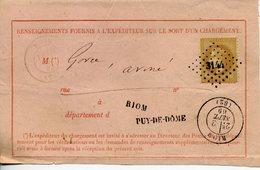 Napoléon 10c Lauré N°28 Type 1 PC Du GC 3144 + Cachet Type 17 De Riom 2 9 69 Demande Renseignement Chargement Incomplet - Marcophilie (Lettres)