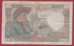 "50 Francs ""Jacques Coeur"" Du 08/01/1942.C-----FR/TB--ALPH.V.156 - 1871-1952 Anciens Francs Circulés Au XXème"