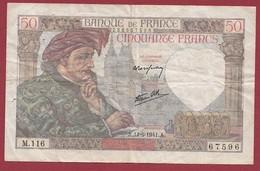 """50 Francs """"Jacques Coeur"""" Du 11/09/1941.A-----VG/TTB--ALPH.M.116 - 1871-1952 Anciens Francs Circulés Au XXème"""