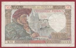 """50 Francs """"Jacques Coeur"""" Du 24/04/1941.E-----VG/TTB--ALPH.W.70 - 1871-1952 Anciens Francs Circulés Au XXème"""