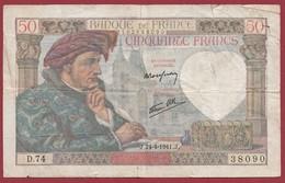 """50 Francs """"Jacques Coeur"""" Du 24/04/1941.J-----G/TB+--ALPH.D.74 - 1871-1952 Anciens Francs Circulés Au XXème"""