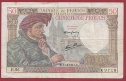 """50 Francs """"Jacques Coeur"""" Du 17/04/1941.C-----F/TTB+--ALPH.H.56 - 1871-1952 Anciens Francs Circulés Au XXème"""
