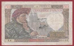 "50 Francs ""Jacques Coeur"" Du 13/06/1940.CD----F/TTB+--ALPH.T4 - 1871-1952 Anciens Francs Circulés Au XXème"
