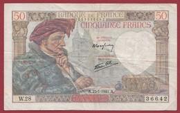 "50 Francs ""Jacques Coeur"" Du 23/12/1941.A----F/TTB+--ALPH.W.28 - 1871-1952 Anciens Francs Circulés Au XXème"