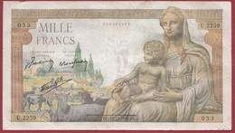 """1000 Francs """"Déesse Déméter"""" Du 10/12/1942.E.C----F/TTB--ALPH.U.2259---COUPURE A 12H00 - 1871-1952 Anciens Francs Circulés Au XXème"""