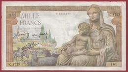 """1000 Francs """"Déesse Déméter"""" Du 08/04/1943.E.T----F/TTB--ALPH.C.4723 - 1871-1952 Anciens Francs Circulés Au XXème"""