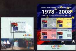2008 Papua New Guinea - 50 Years Work With EU / 50 Years Of Roman Treaty -Flags- Set Of 2 MS / 2 Bl Mi 59/60 - MNH** - Papua-Neuguinea