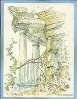 Ermenonville (60) Le Parc Jean-Jacques-Rousseau CP Issue D'1 Aquarelle De Marie-Françoise Carbonnelle 2scans - Ermenonville
