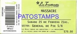 129492 ARGENTINA BS AS LA TRASTIENDA ARTIST MASSACRE ROCK & ROLL TICKET ENTRADA NO POSTAL POSTCARD - Altre Collezioni