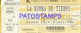 129493 ARGENTINA BS AS CIUDAD CULTURAL KONEX GRUPO DE MUSICA LA BOMBA DE TIEMPO TICKET ENTRADA NO POSTAL POSTCARD - Andere Sammlungen