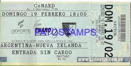 129495 ARGENTINA - NUEVA ZELANDA SPORTS RUGBY TICKET ENTRADA NO POSTAL POSTCARD - Altre Collezioni