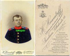 Hartpappefoto CDV, Soldat Uniform, Infanterie Regiment Nr. 30 Saarlouis, Farbig - Guerre, Militaire